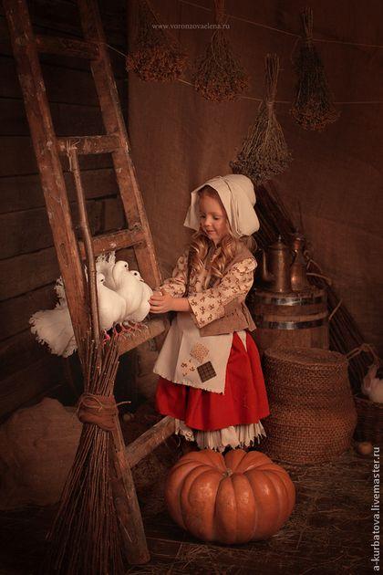 Карнавальные костюмы ручной работы. Комплект ЗОЛУШКА. Анастасия Курбатова. Интернет-магазин Ярмарка Мастеров. Однотонный, лен