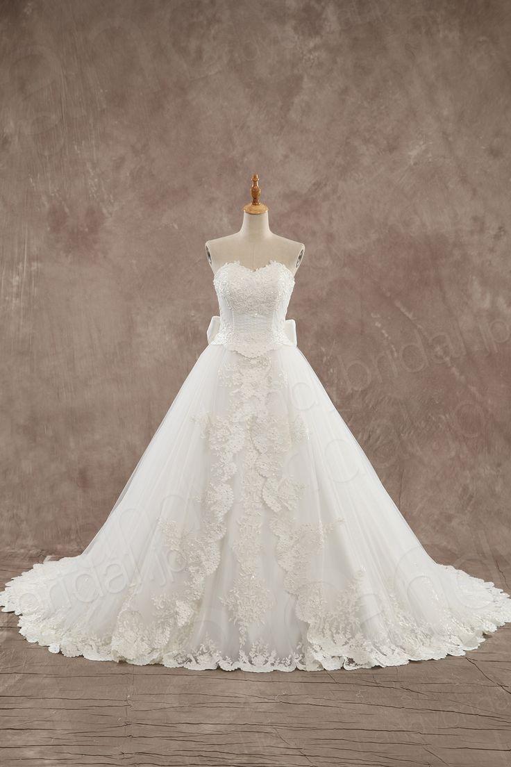 ウェディングドレス ハートネック プリンセスライン 豪華なカットレース リボン LD3431 税込: ¥73,980