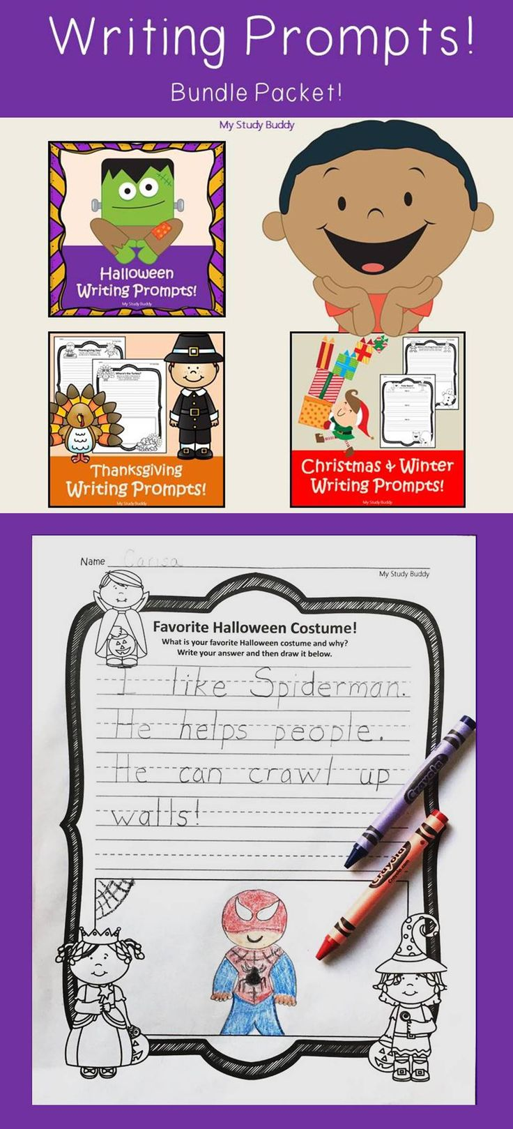 Halloween, Thanksgiving and Christmas Writing Prompts (First Grade, Fall Activities, Fall Writing, October Writing)