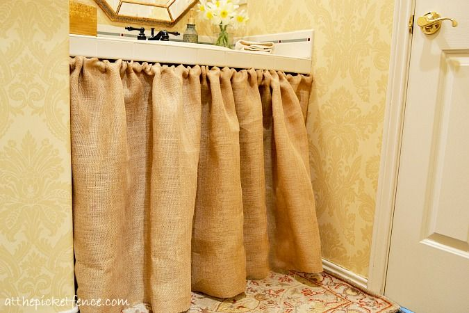 "No-sew burlap bathroom vanity skirt.  (Same idea can be used somewhere else in your home to create a ""storage space"" that needs a ""door."":)"