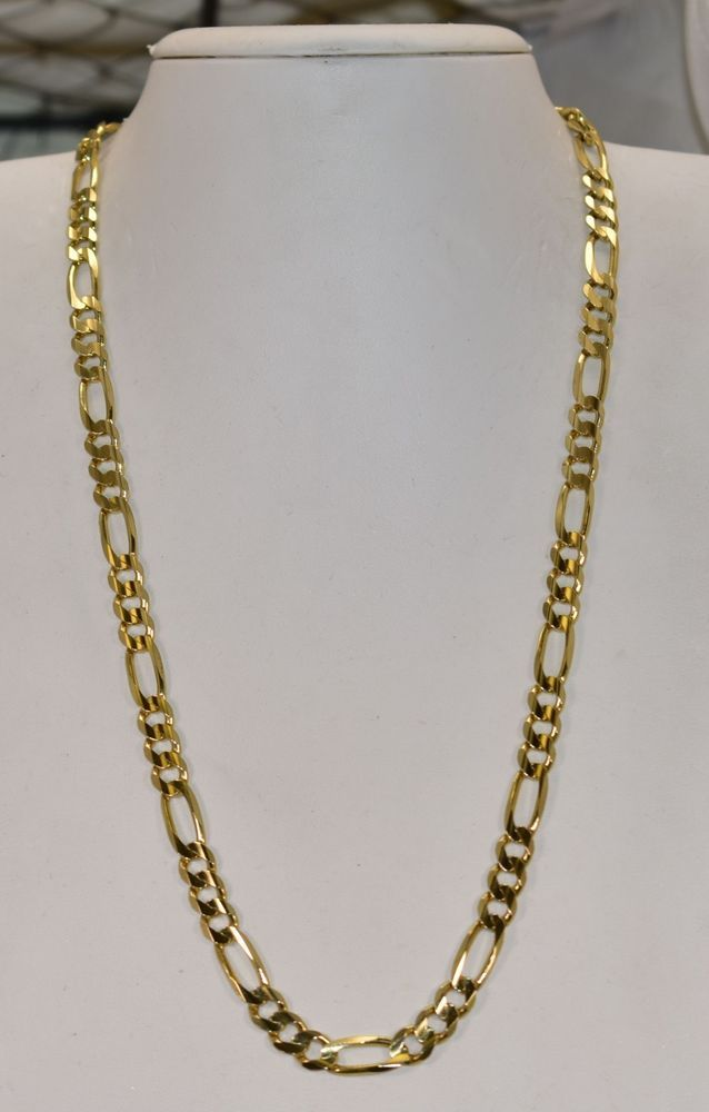 10 K Yellow Gold Italian 6 8 Mm Figaro Chain 21 Inch 33 6 Grams Figaro