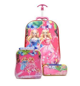 Cartoon 3D stereo Kids School Bag with wheels girl's Boy's trolley Bag for school Children Rolling Suitcase with Lunch backpack