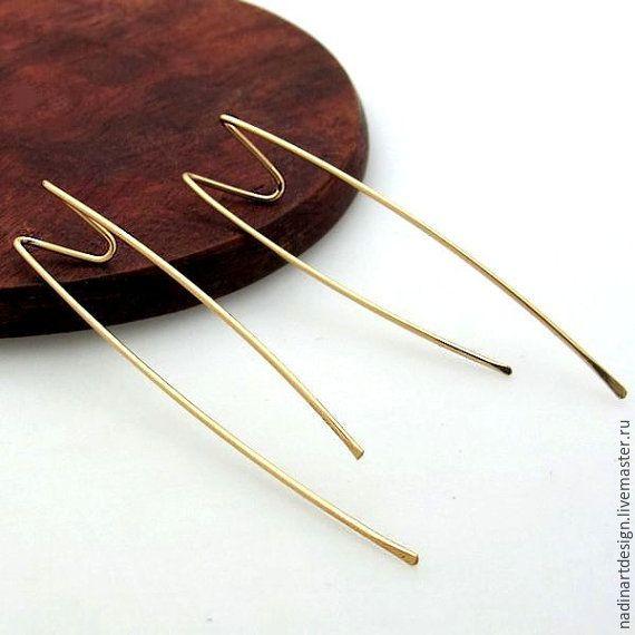 Купить Серьги для двойного пирсинга. Оригинальные длинные серёжки - золотой, серьги, серьги ручной работы
