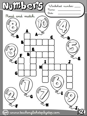 Numbers - Worksheet 3 (B&W version)