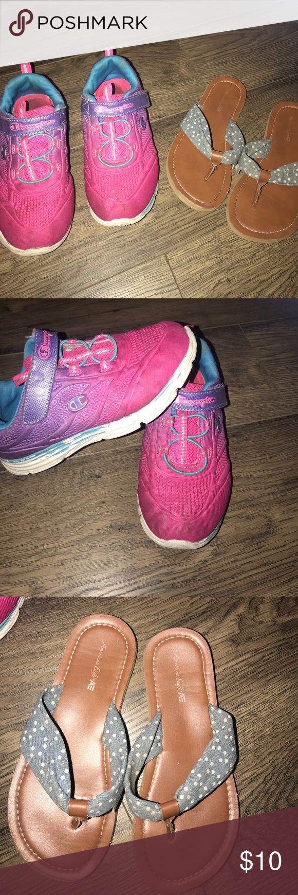Girls Shoe Bundle Pink Rainbow ones are a 12 1/2. They rainbow ones are in great condition the blue only peeled off from being washed. Sandals are a size 13, great condition with a foam sole. Both from Payless shoes Champion Shoes