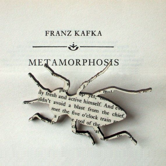 """A beetle brooch made from pages of a worn-out copy of The Metamorphosis! It's so meta, I can't stand it."""