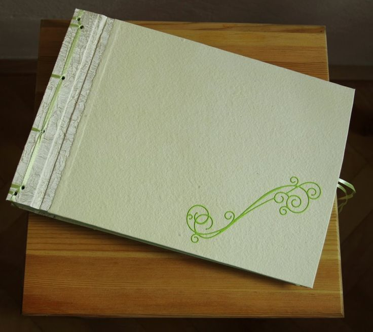 Handmade photo album, japanese binding, covered with canvas nad handmade paper