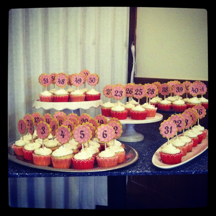 60th Birthday Party - numbered ALL th cupcakes - yes, all 60