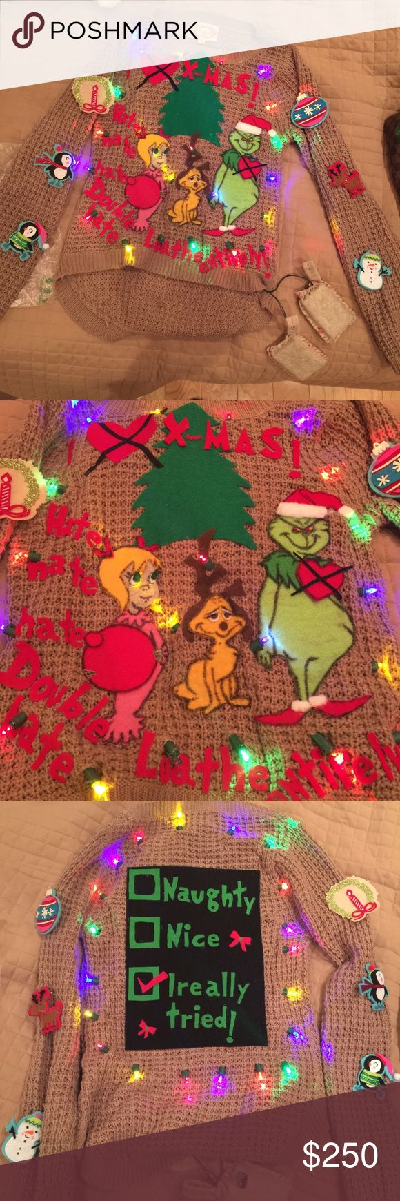 Grinch Sweater Make me an offer if you are interested! Great for grinchmas party, ugly Christmas sweater, grinch fans! Hand made, Cindy Lou hoo and max the dog. Batteries are in small pouch. Missing reindeer patch from right arm Sweaters Crew & Scoop Necks