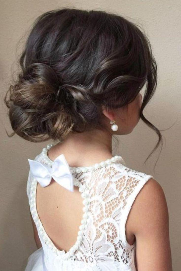 Wedding Updo For Kids Wedding Hairstyles In 2020 Flower Girl Updo Flower Girl Hairstyles Flower Girl Hairstyles Updo