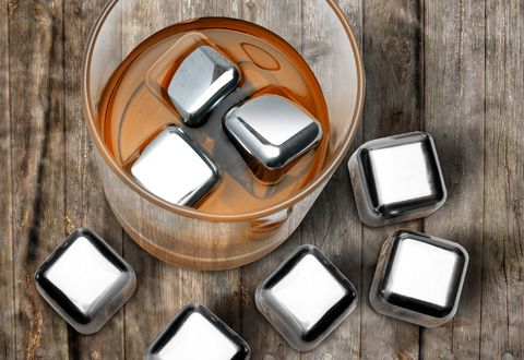 Stainless Steel Ice Cubes.  so trippylooking/so cool!