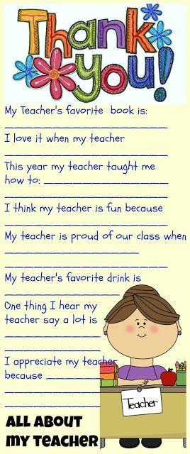 Teacher Appreciation Gift Idea #3: FREE Printable Fill-In Paper About Teacher