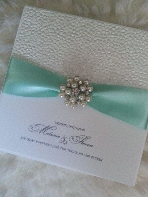 Handmade Pearl Cluster Wedding Invitation by StylishStationery