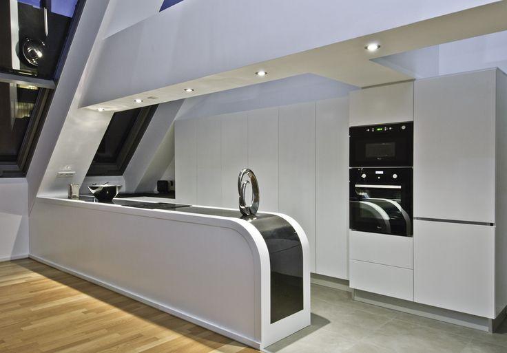 Unique U-shaped kitchen furniture, push-open doors and white color, NorKisz