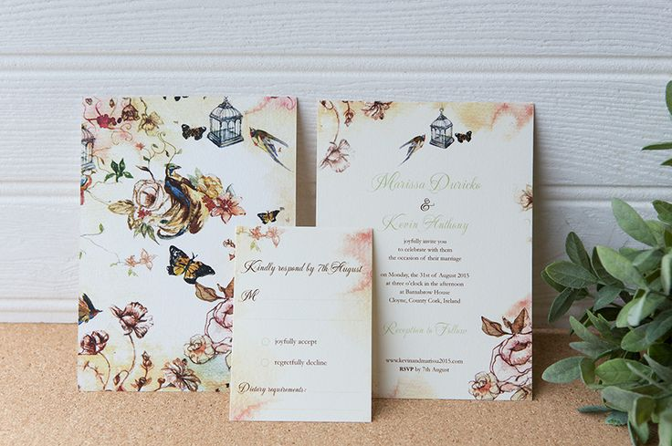 Painted summer wedding invitation,with soft colors and delicate flowers