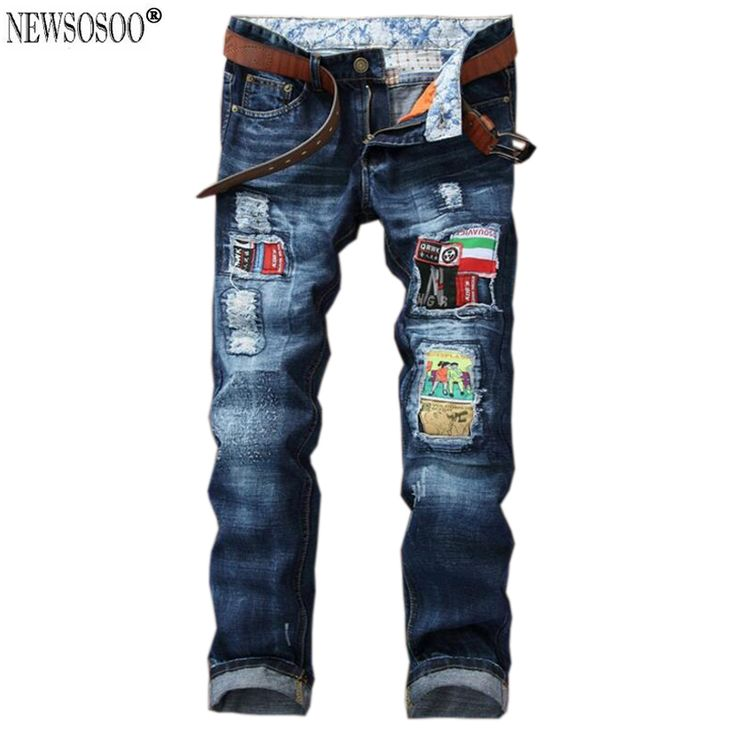 Newsosoo Brand men's patchwork patches ripped jeans slim fit straight robin jeans male pantalones vaqueros hombre MJ89 #Affiliate