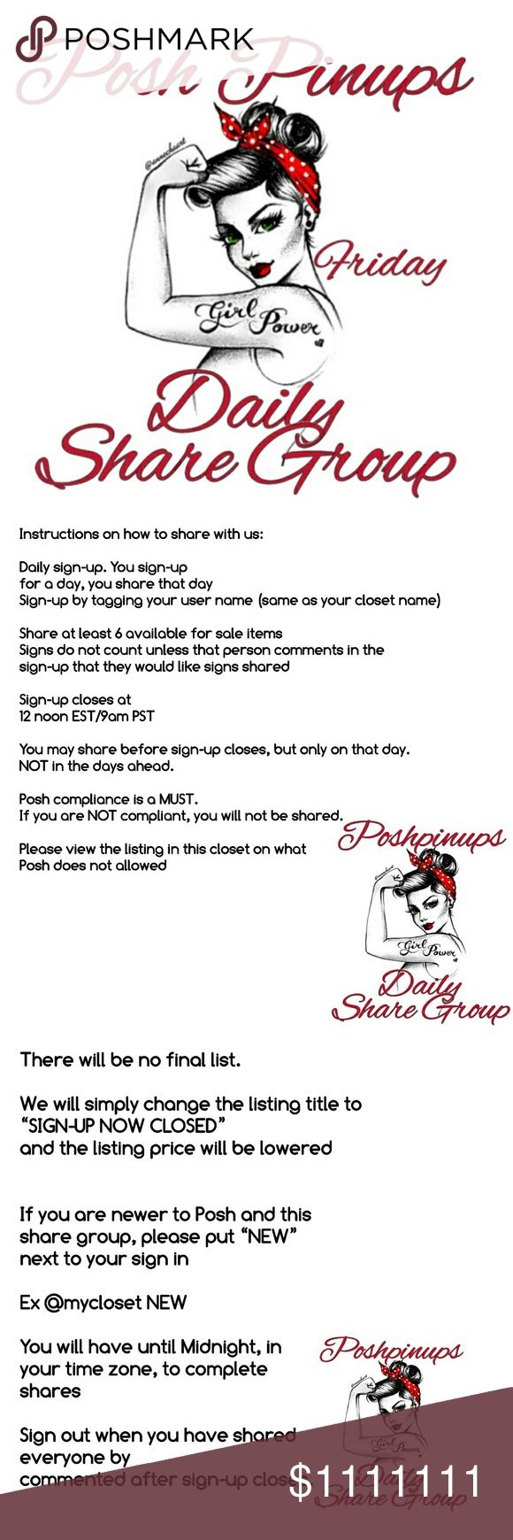 Friday May 5 Sign-up All rules are listed in slides above. Please ask, in the chat listing, if you have any questions, concerns, ideas or just want to chat!  Remember, you must be Posh Compliant. If you aren't, you run the risk of not being shared Tag Allison, @alluck1210, Trina, @myboutique71 or Angelia @restlessangel so we see your comment right away. We aren't always logged in to this closet. Thank you! Other