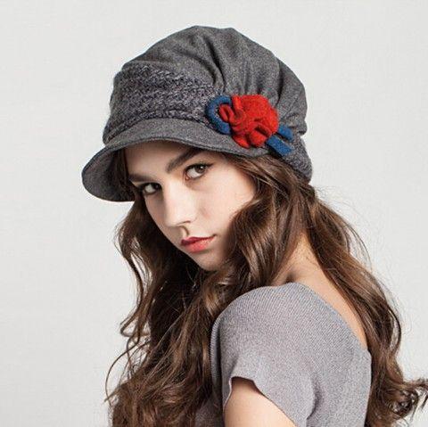 Fashion flower beret hat for women fold warm winter hats