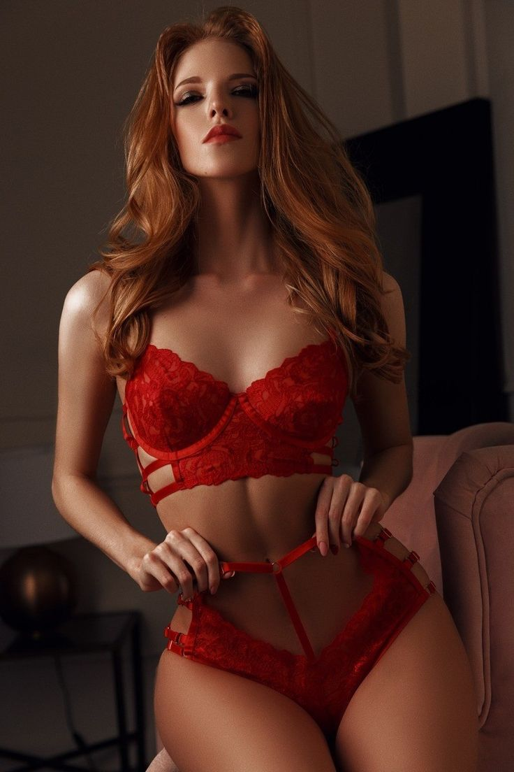 Sexy red sheer peek a boo lingerie set
