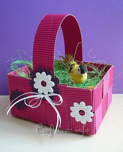 Paper Craft for Easter - Woven Corrugated Cardboard Easter Basket