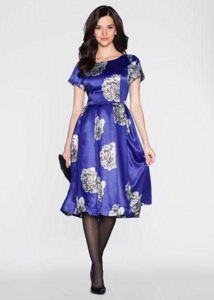 Платье (королевский синий/серебристый )