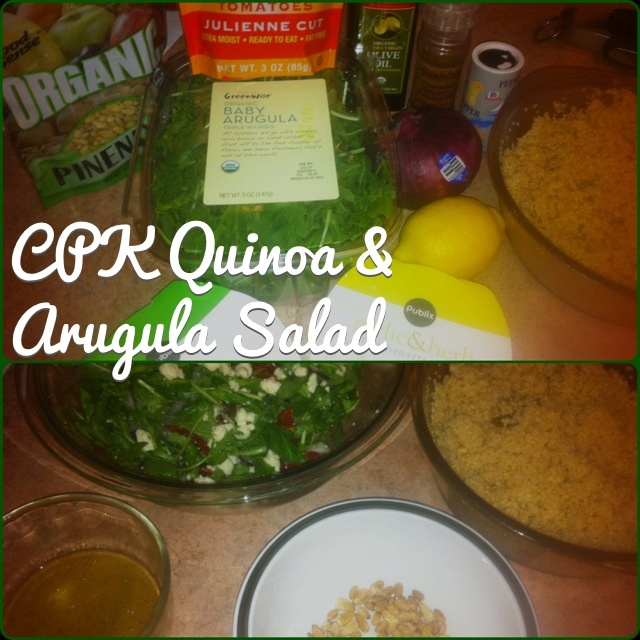 California Pizza Kitchen Quinoa & Arugula Salad. Arugula or any greens, red onion, cooked quinoa, sun-dried tomatoes, toasted pine nuts, feta cheese, lemon vinaigrette. So yum! (Made without asparagus or their champagne vinaigrette)