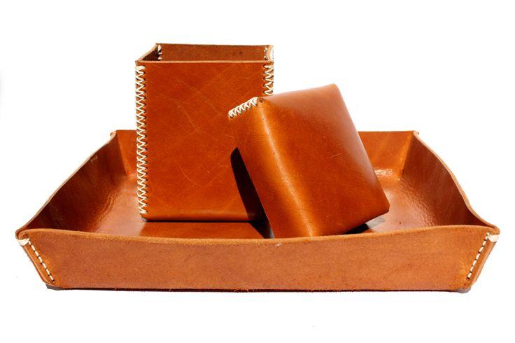 Leather box & tray set