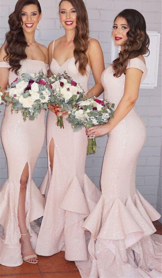 Sexy Mermaid Ruffles Front Split Bridesmaid Dress 2016 Off-the-shoulder