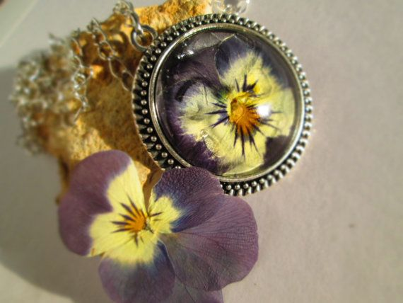 pansy blossom necklace pressed flower jewelry by LisaDecorGifts