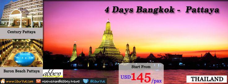 Ingin jalan-jalan ke Bangkok dan Pattaya?Kini kami sediakan paket 4 Hari Bangkok – Pattaya .Anda akan diajak berkeliling kota Bangkok dan Pattaya.Yuk buruan booking sekarang juga di  http://liburyuk.com/listpackage/4D+BANGKOK+PATTAYA   #Bangkok #Thailand #Pattaya #Beach #LiburYuk #Jalan2 #AbbeyTravel