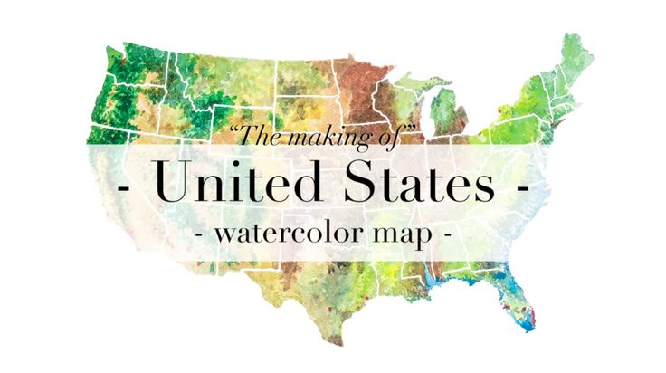 """Timelapse & Making of  """"United States Watercolor Map"""" A painting by Ricardo Bouman from Zoetermeer, the Netherlands. www.eyecatcheraandemuur.nl"""