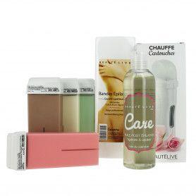 Trousse Epilation : 1 chauffe cire + 4 cartouches + 1 boîte de 100 bandes + 1 huile Post épilation