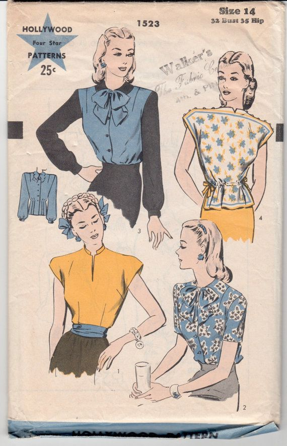 Vintage Sewing Pattern 1940's Blouses Hollywood 1523.