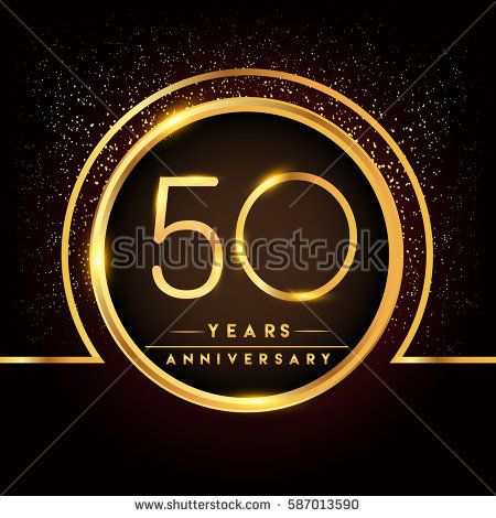 fifty years birthday celebration logotype. 50th anniversary logo with confetti and golden ring isolated on black background, vector design for greeting card and invitation card