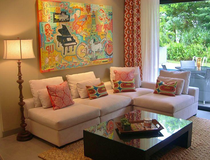 Chic Caribbean Condo - living room art by: Jacobo Roa