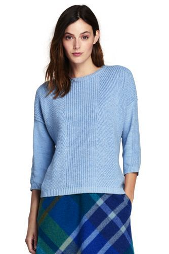 Womens Petite Fine Gauge Supima Ottoman Stitch Crew Neck Cardigan - 10 -12 - BLUE Lands End Really Cheap Online Cheap Good Selling Extremely Cheap Price Cheap Lowest Price Cheapest ExVGb