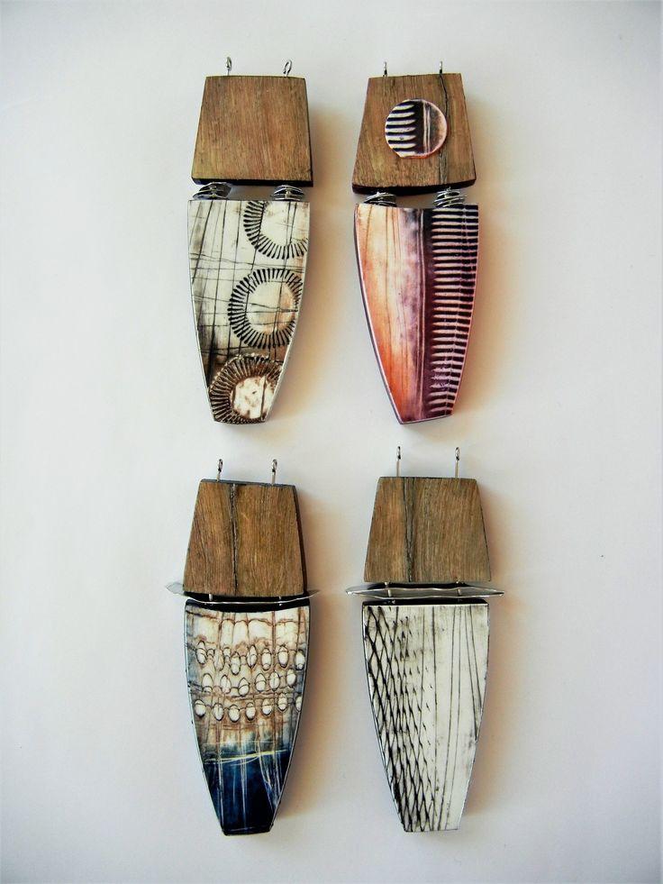 Revised Workshop - Wood, Batik, Metal - polymer clay pendants by Sonya Girodon