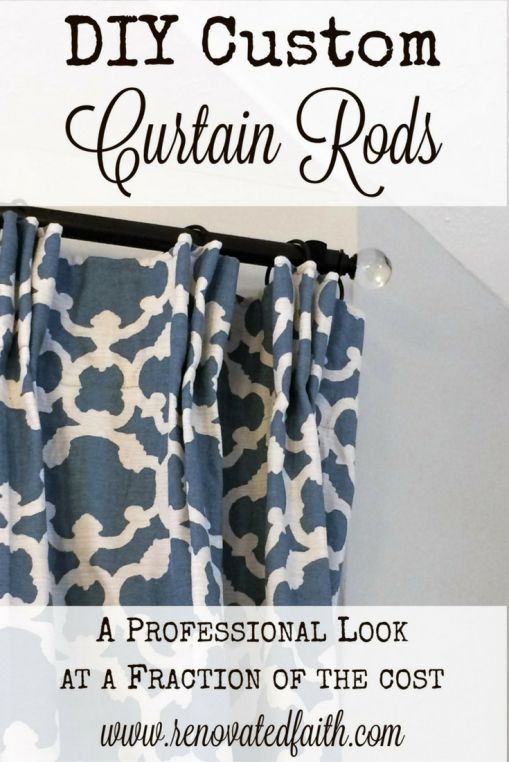 DIY Custom Curtain Rods - A Professional Look at a Fraction of the Cost - I used electrical conduit and cabinet knobs to make curtain rods with glass finials.  This was a cheap, budget-friendly, custom look for less than $5 a curtain rod!  www.renovatedfaith.com