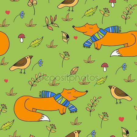 Скачать - Лес бесшовные модели с лисами и птицами.  Векторные элементы дизайна.  Образец с дикими цветами и грибами - Stočková иллюстрации # 126862562