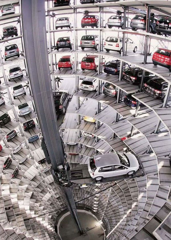 """Robot Parking. Automated mechanical parking garage at the """"Autostadt"""" in Wolfsburg, Germany. Adjacent to the Volkswagen Factory. 