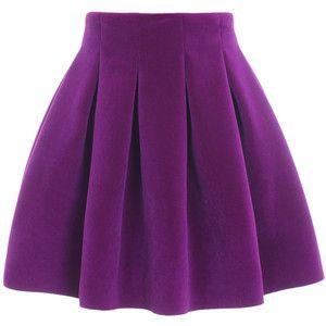 Choies Fuchsia Velvet Pleated Mini Skirt