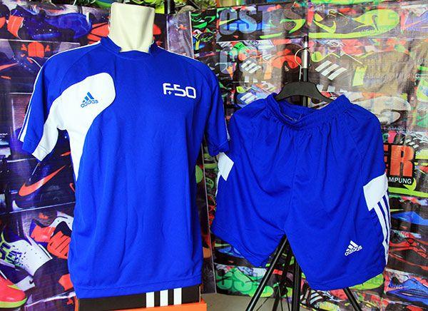 Setelan Kaos Adidas F50 Biru Rp 80.000