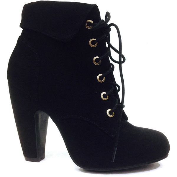 Bamboo Black Mozza Lace-Up Bootie (28 CAD) ❤ liked on Polyvore featuring shoes, boots, ankle booties, ankle boots, boots/booties, black bootie, black high heel booties, lace up boots and high heel ankle boots
