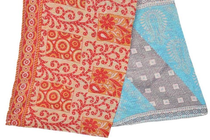 "Vintage Cotton Sari Kantha Scarf Hand Quilted Stole Hijab 19""X70"" ID4644 | eBay"