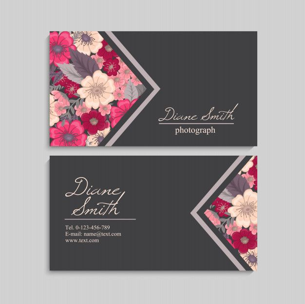Floral Style Business Card Template Vector Fashion Cards Design Fashion Business Cards Illustration Business Cards