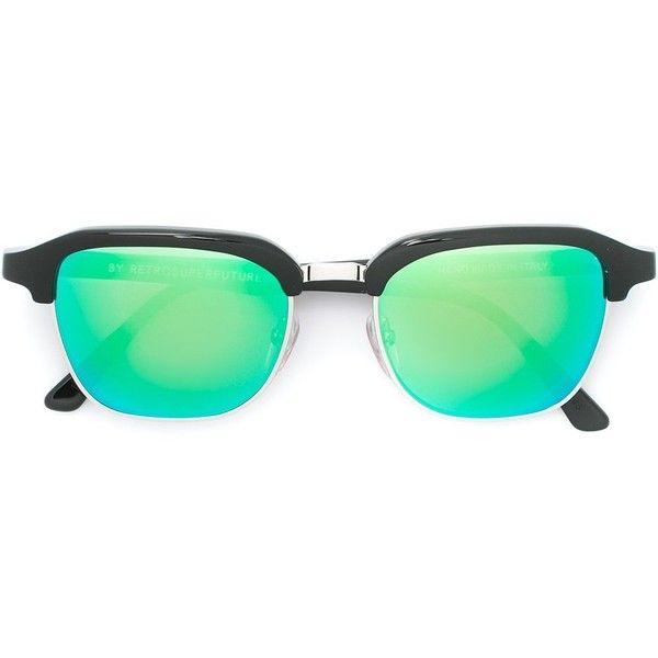 Retrosuperfuture 'Gonzo Cove II' sunglasses ($274) ❤ liked on Polyvore featuring accessories, eyewear, sunglasses, black, unisex sunglasses, acetate glasses, retrosuperfuture sunglasses, unisex glasses and acetate sunglasses