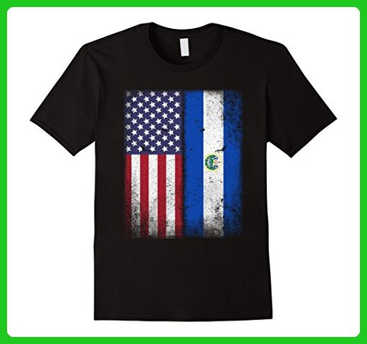 Mens American Salvadoran Flag T-shirt El Salvador Heritage Pride Large Black - Cities countries flags shirts (*Amazon Partner-Link)