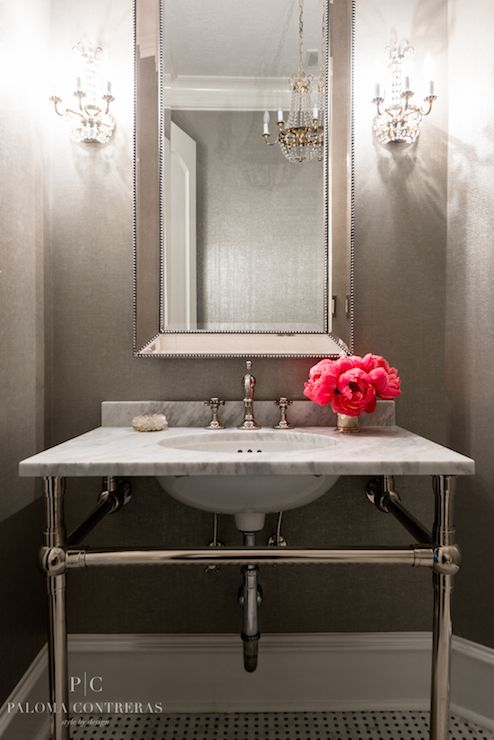 Paloma Contreras - bathrooms - powder rooms, powder room mirrors, white and gray powder room, chic powder rooms, glam powder rooms, beaded m...