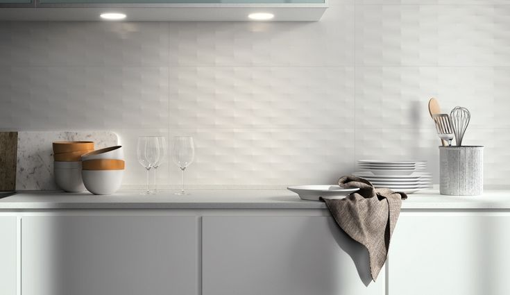 The light-catching Lumina line by Fap combines an all-white palette with four 3-D texture options | azuremagazine.com