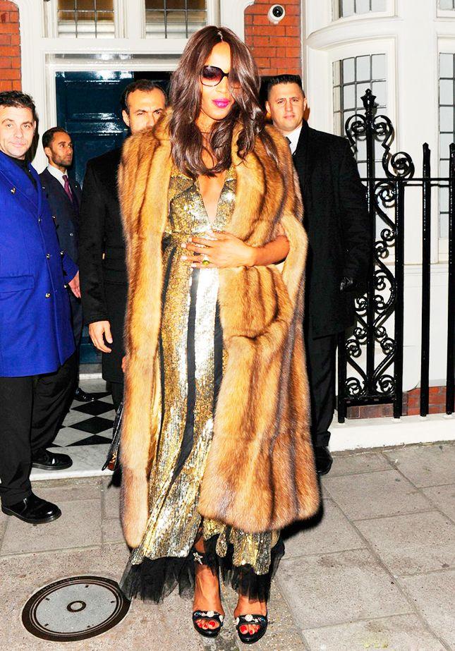 Наоми Кэмпбелл в платье Alexander McQueen и шубе Ralph & Russo в Нью-Йорке